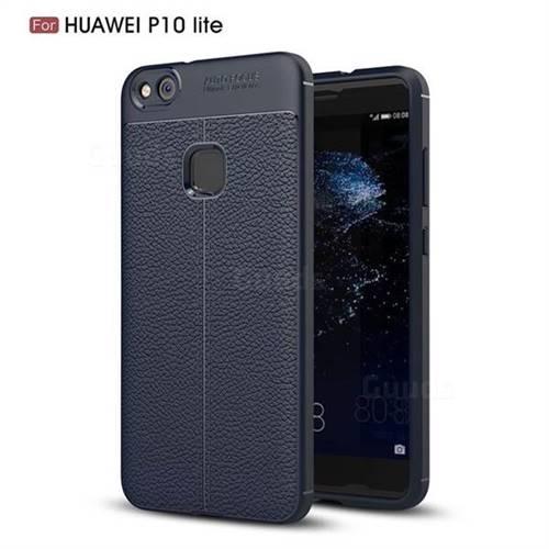 Luxury Auto Focus Litchi Texture Silicone TPU Back Cover for Huawei P10 Lite P10Lite - Dark Blue