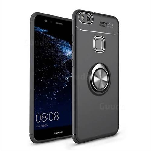 Auto Focus Invisible Ring Holder Soft Phone Case for Huawei P10 Lite P10Lite - Black