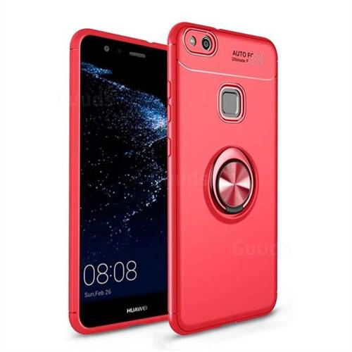 Auto Focus Invisible Ring Holder Soft Phone Case for Huawei P10 Lite P10Lite - Red