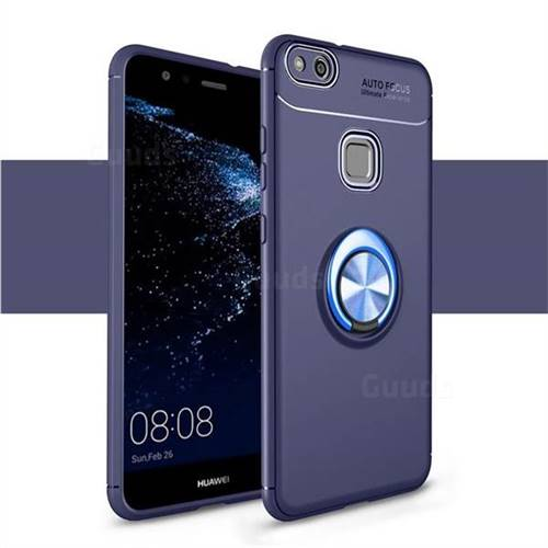 Auto Focus Invisible Ring Holder Soft Phone Case for Huawei P10 Lite P10Lite - Blue