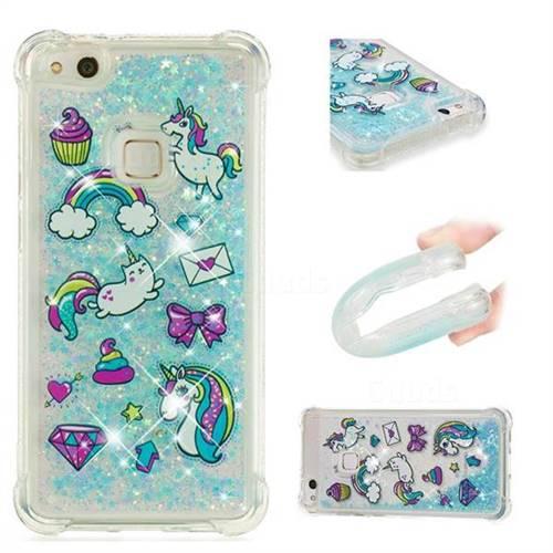 Fashion Unicorn Dynamic Liquid Glitter Sand Quicksand Star TPU Case for Huawei P10 Lite P10Lite