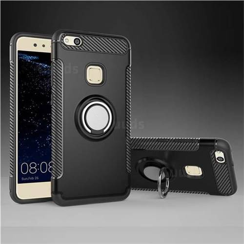 online store ecd89 748b8 Armor Anti Drop Carbon PC + Silicon Invisible Ring Holder Phone Case for  Huawei P10 Lite P10Lite - Black