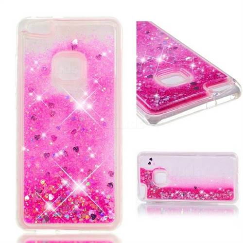 Dynamic Liquid Glitter Quicksand Sequins TPU Phone Case for Huawei P10 Lite P10Lite - Rose