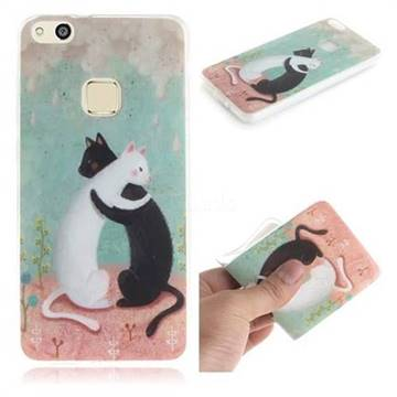 Black and White Cat IMD Soft TPU Cell Phone Back Cover for Huawei P10 Lite P10Lite