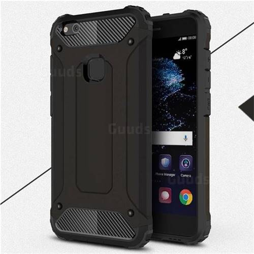 King Kong Armor Premium Shockproof Dual Layer Rugged Hard Cover for Huawei P10 Lite P10Lite - Black Gold