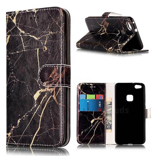 Black Gold Marble PU Leather Wallet Case for Huawei P10 Lite P10lite