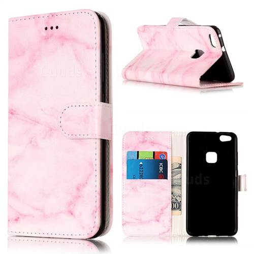 Pink Marble PU Leather Wallet Case for Huawei P10 Lite P10lite