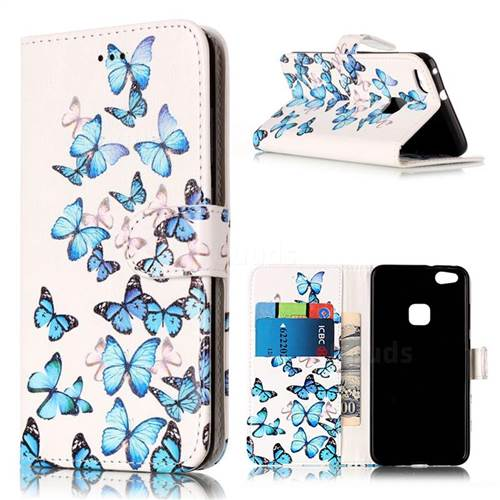Blue Vivid Butterflies PU Leather Wallet Case for Huawei P10 Lite P10lite