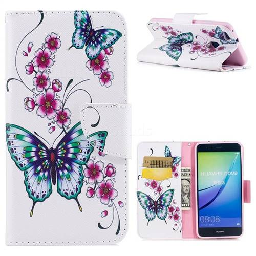Peach Butterfly Leather Wallet Case for Huawei P10 Lite P10Lite