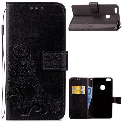 Embossing Imprint Four-Leaf Clover Leather Wallet Case for Huawei P10 Lite P10Lite - Black