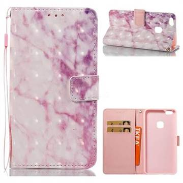 Pink Marble 3D Painted Leather Wallet Case for Huawei P10 Lite P10Lite