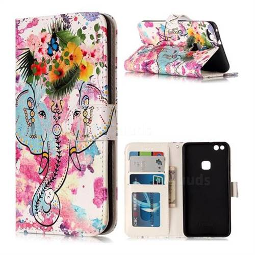 Flower Elephant 3D Relief Oil PU Leather Wallet Case for Huawei P10 Lite P10Lite