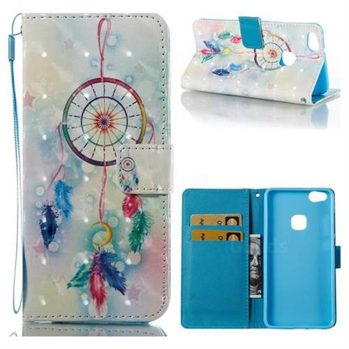 Feather Wind Chimes 3D Painted Leather Wallet Case for Huawei P10 Lite P10Lite
