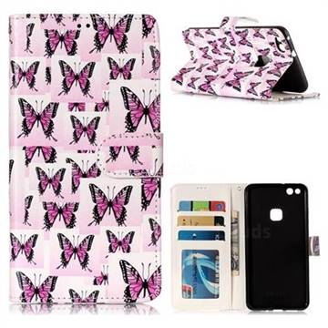 Butterflies Stickers 3D Relief Oil PU Leather Wallet Case for Huawei P10 Lite P10Lite