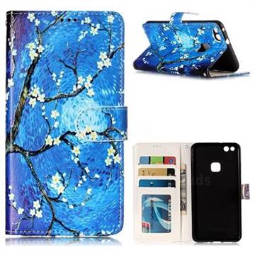 Plum Blossom 3D Relief Oil PU Leather Wallet Case for Huawei P10 Lite P10Lite