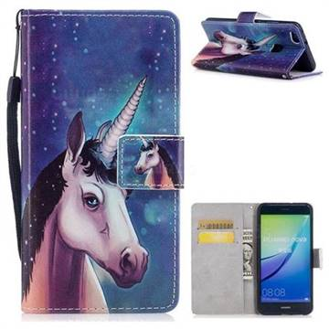 Blue Unicorn PU Leather Wallet Case for Huawei P10 Lite P10Lite