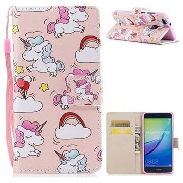 Rainbow Unicorn PU Leather Wallet Case for Huawei P10 Lite P10Lite