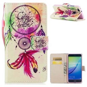 Feather Wind Chimes PU Leather Wallet Case for Huawei P10 Lite P10Lite