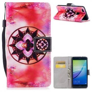 Red Mandala PU Leather Wallet Case for Huawei P10 Lite P10Lite