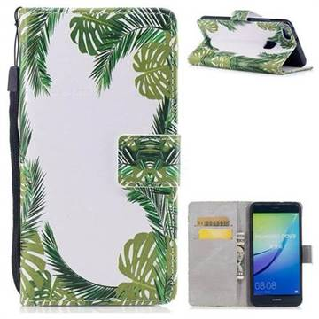 Green Leaves PU Leather Wallet Case for Huawei P10 Lite P10Lite