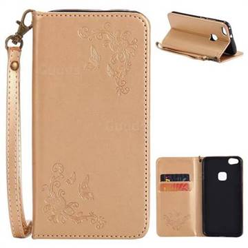 Intricate Embossing Slim Butterfly Rose Leather Holster Case For Huawei P10 Lite P10lite Golden Leather Case Guuds