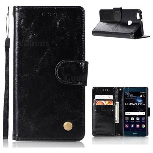 Luxury Retro Leather Wallet Case for Huawei P10 Lite P10Lite - Black