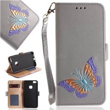 Imprint Embossing Butterfly Leather Wallet Case for Huawei P10 Lite P10Lite - Grey