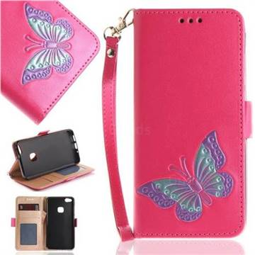 Imprint Embossing Butterfly Leather Wallet Case for Huawei P10 Lite P10Lite - Rose Red
