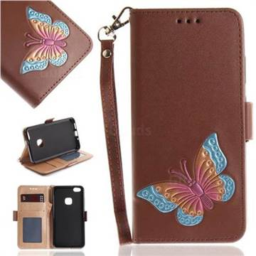 Imprint Embossing Butterfly Leather Wallet Case for Huawei P10 Lite P10Lite - Brown