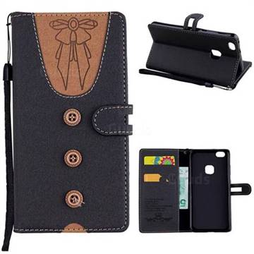 Ladies Bow Clothes Pattern Leather Wallet Phone Case for Huawei P10 Lite P10Lite - Black