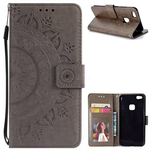 Intricate Embossing Datura Leather Wallet Case for Huawei P10 Lite P10Lite - Gray