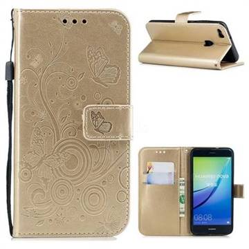 Intricate Embossing Butterfly Circle Leather Wallet Case for Huawei P10 Lite P10Lite - Champagne