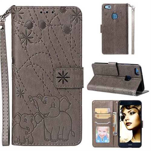 Embossing Fireworks Elephant Leather Wallet Case for Huawei P10 Lite P10Lite - Gray