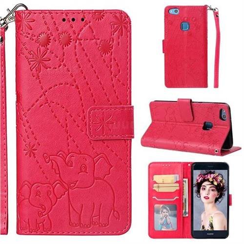 Embossing Fireworks Elephant Leather Wallet Case for Huawei P10 Lite P10Lite - Red