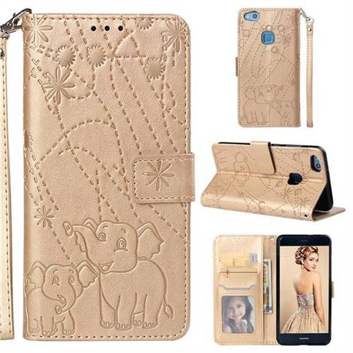 Embossing Fireworks Elephant Leather Wallet Case for Huawei P10 Lite P10Lite - Golden