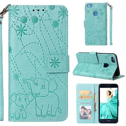 Embossing Fireworks Elephant Leather Wallet Case for Huawei P10 Lite P10Lite - Green