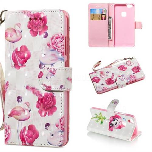 Flamingo 3D Painted Leather Wallet Phone Case for Huawei P10 Lite P10Lite