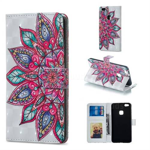 Mandara Flower 3D Painted Leather Phone Wallet Case for Huawei P10 Lite P10Lite