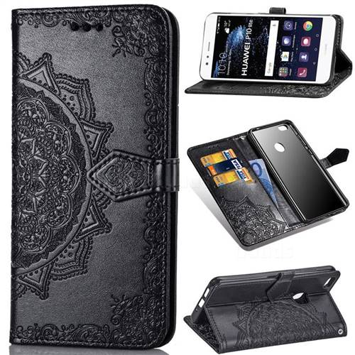 Embossing Imprint Mandala Flower Leather Wallet Case for Huawei P10 Lite P10Lite - Black