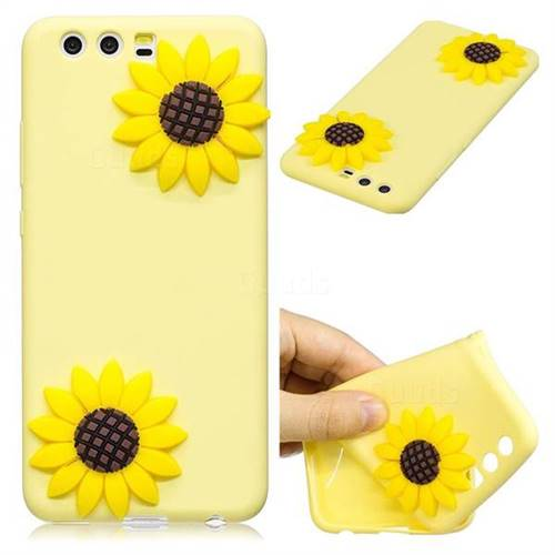 Yellow Sunflower Soft 3D Silicone Case for Huawei P10 Plus