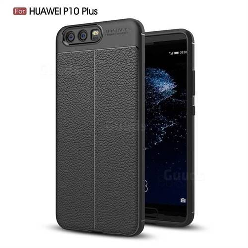 Luxury Auto Focus Litchi Texture Silicone TPU Back Cover for Huawei P10 Plus - Black