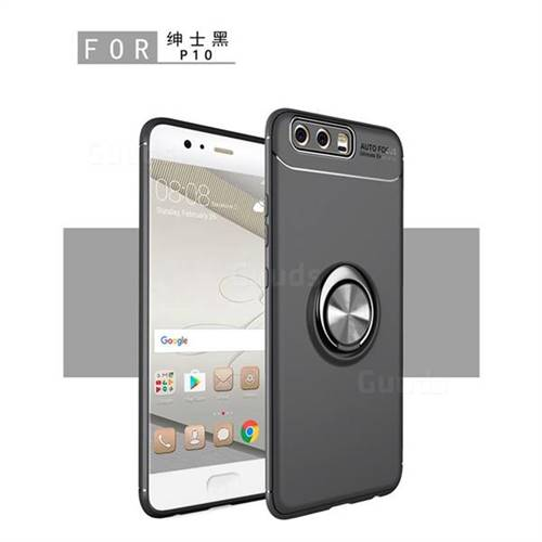 Auto Focus Invisible Ring Holder Soft Phone Case for Huawei P10 Plus - Black