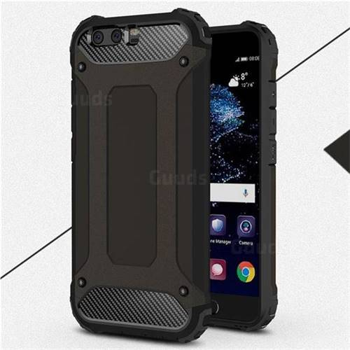 King Kong Armor Premium Shockproof Dual Layer Rugged Hard Cover for Huawei P10 Plus - Black Gold