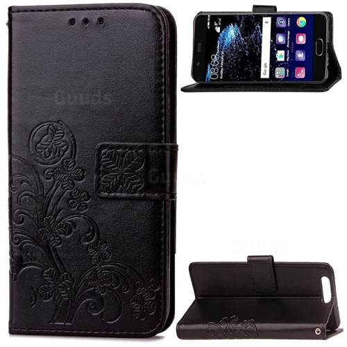 Embossing Imprint Four-Leaf Clover Leather Wallet Case for Huawei P10 Plus - Black