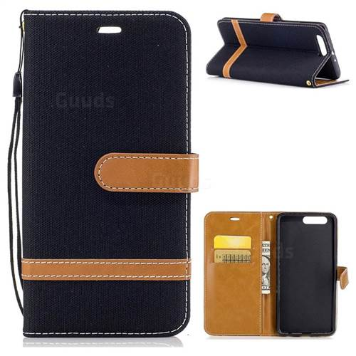Jeans Cowboy Denim Leather Wallet Case for Huawei P10 Plus - Black