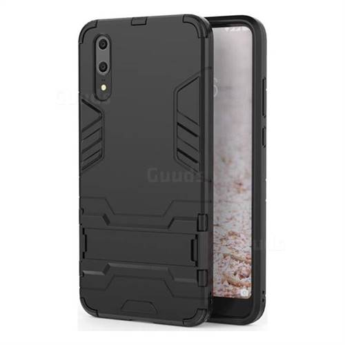 Armor Premium Tactical Grip Kickstand Shockproof Dual Layer Rugged Hard Cover for Huawei P20 - Black