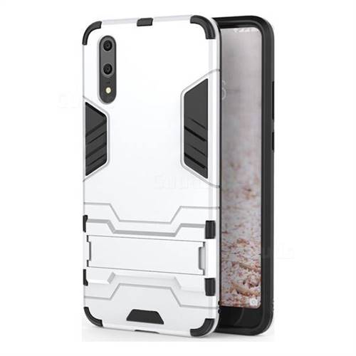 Armor Premium Tactical Grip Kickstand Shockproof Dual Layer Rugged Hard Cover for Huawei P20 - Silver