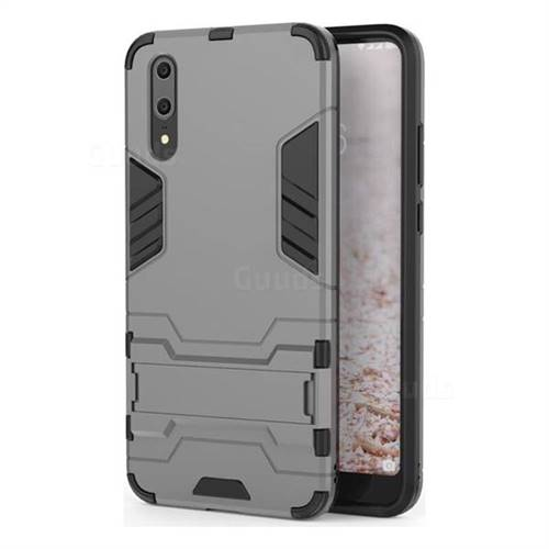 Armor Premium Tactical Grip Kickstand Shockproof Dual Layer Rugged Hard Cover for Huawei P20 - Gray