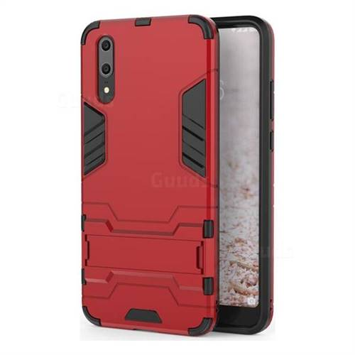 Armor Premium Tactical Grip Kickstand Shockproof Dual Layer Rugged Hard Cover for Huawei P20 - Wine Red
