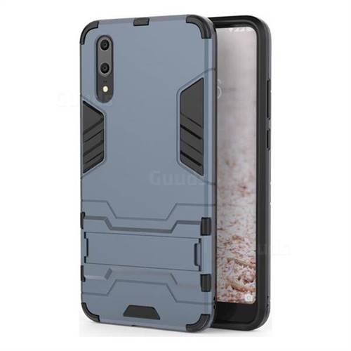 Armor Premium Tactical Grip Kickstand Shockproof Dual Layer Rugged Hard Cover for Huawei P20 - Navy